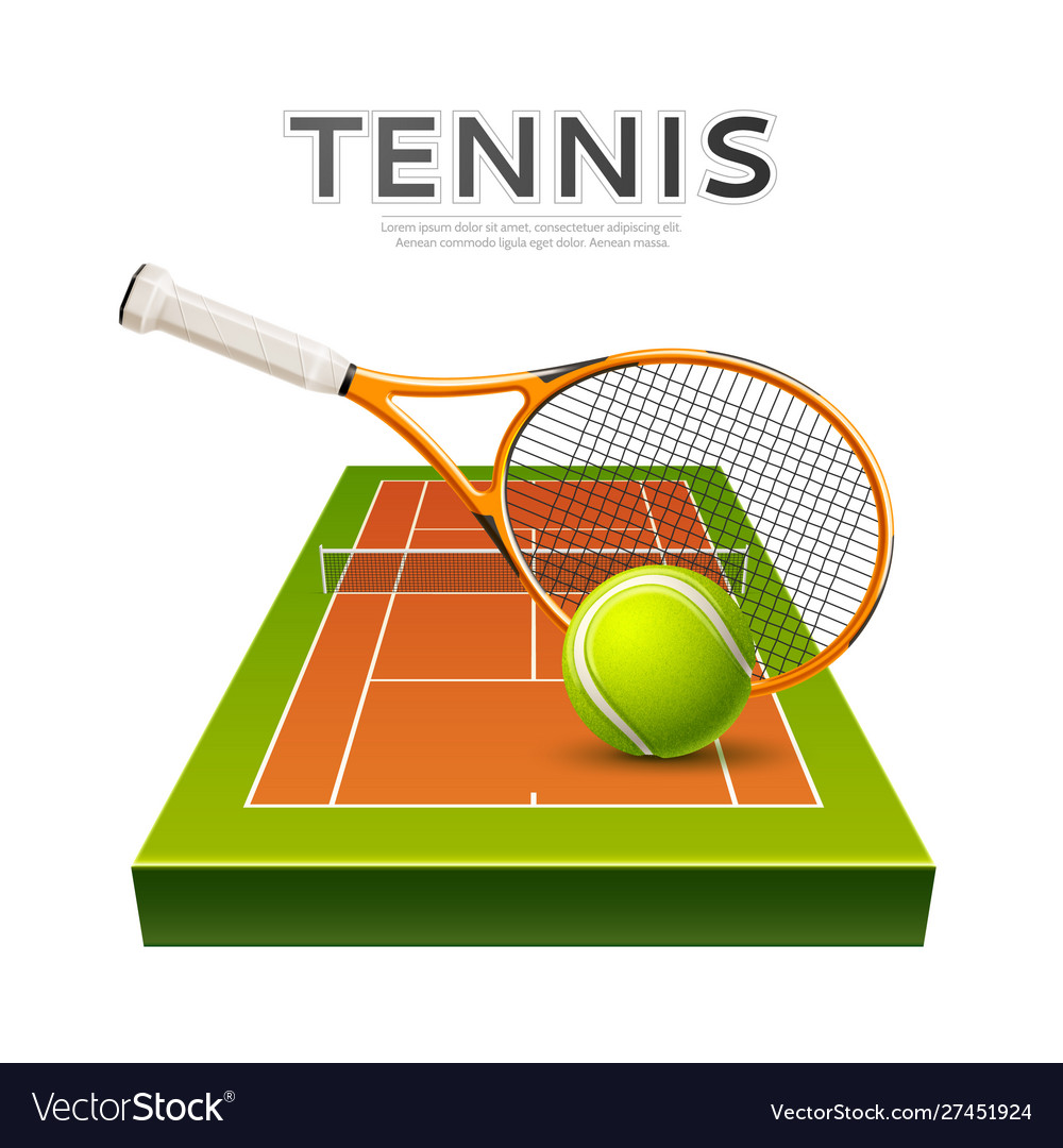Realistic tennis rackets and ball 3d icon
