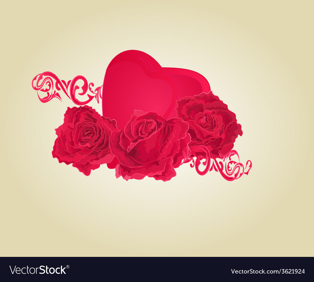 Roses And Heart And Ornaments Royalty Free Vector Image