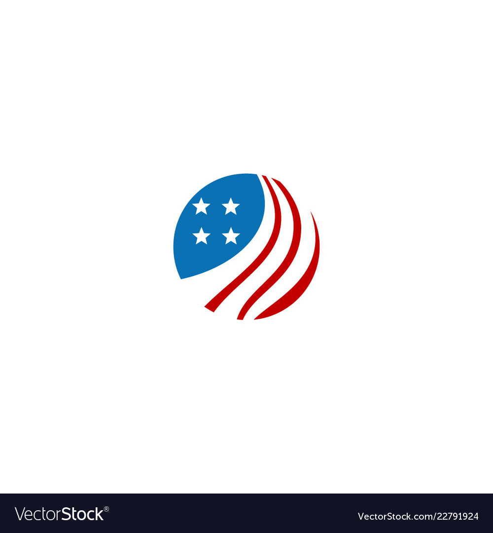 Round america flag icon logo vector