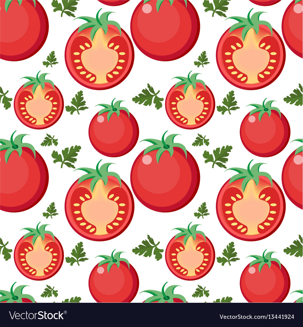 Tomato seamless pattern tomatoes endless