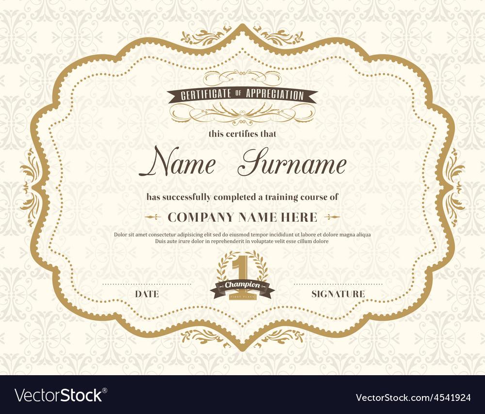 Vintage retro frame certificate background Vector Image