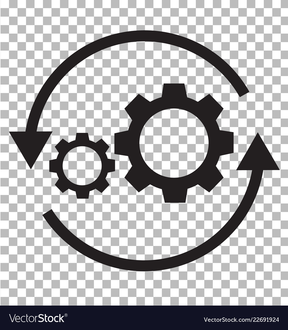 Workflow icon on transparent flat style gear and