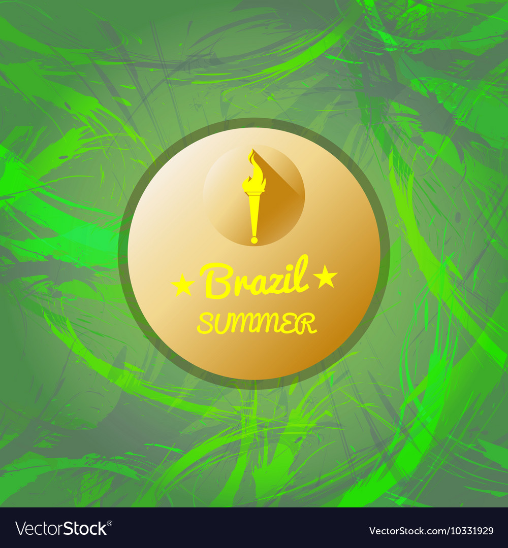 Abstract brazil summer design with burning flame vector image