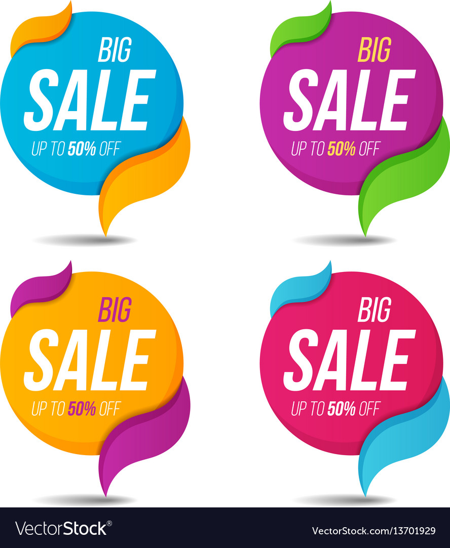 Collection of sale labels price tags banners