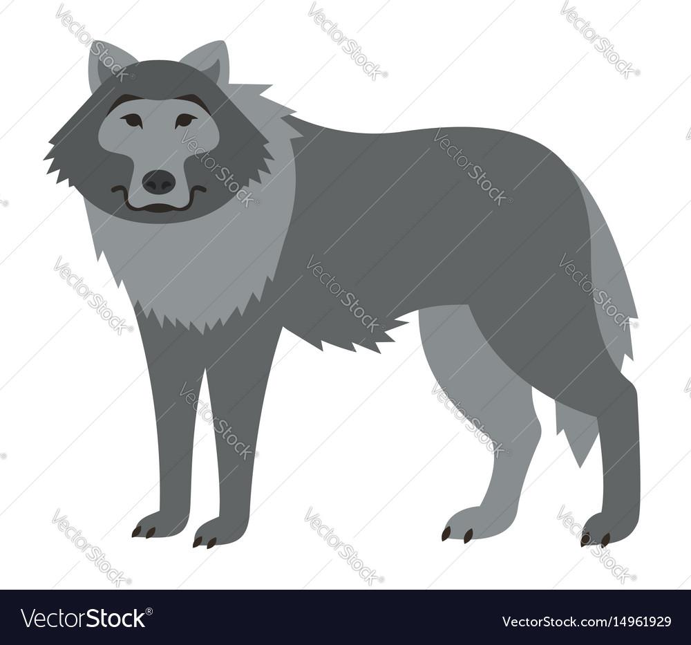 Cute smiling wild wolf cartoon