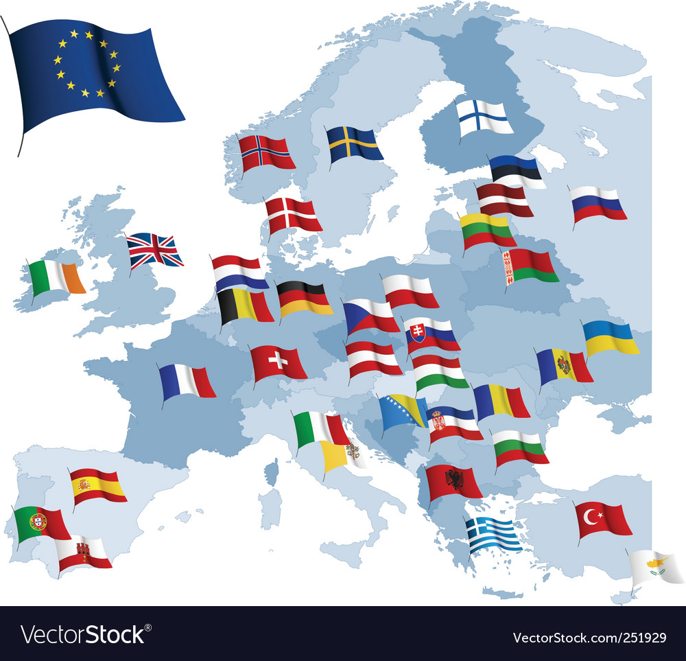 European country flags and map royalty free vector image european country flags and map vector image gumiabroncs