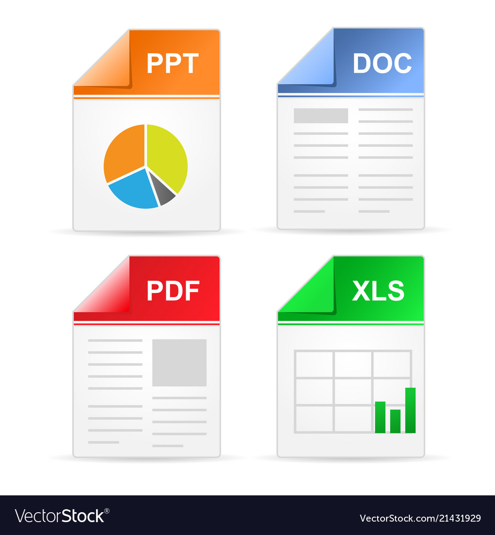 filetype format icons ppt doc pdf xls royalty free vector