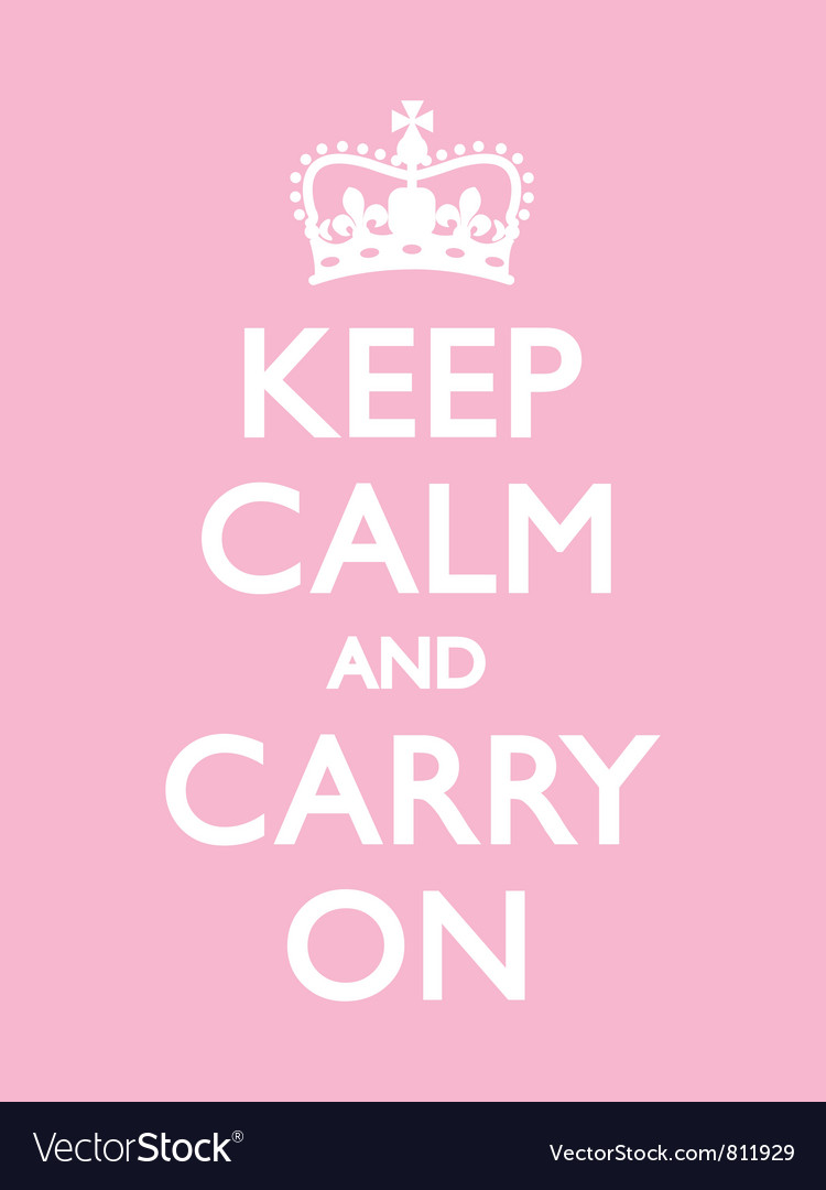keep calm carry on pink royalty free vector image