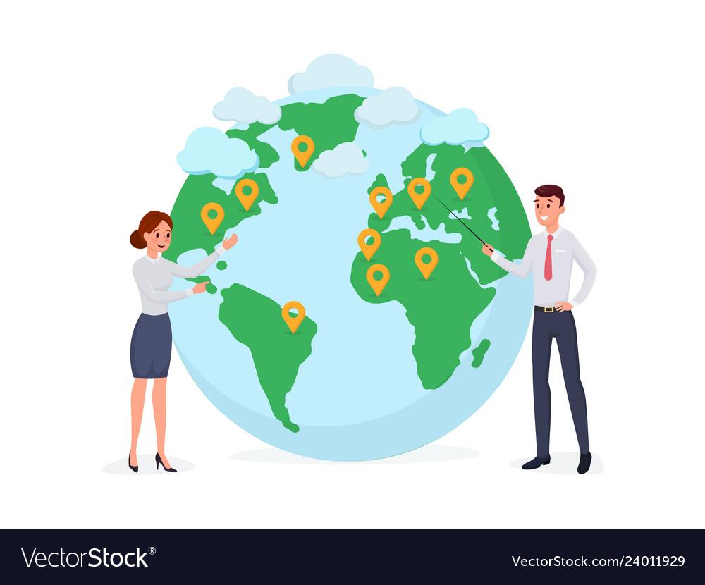 Man and woman near globe symbol