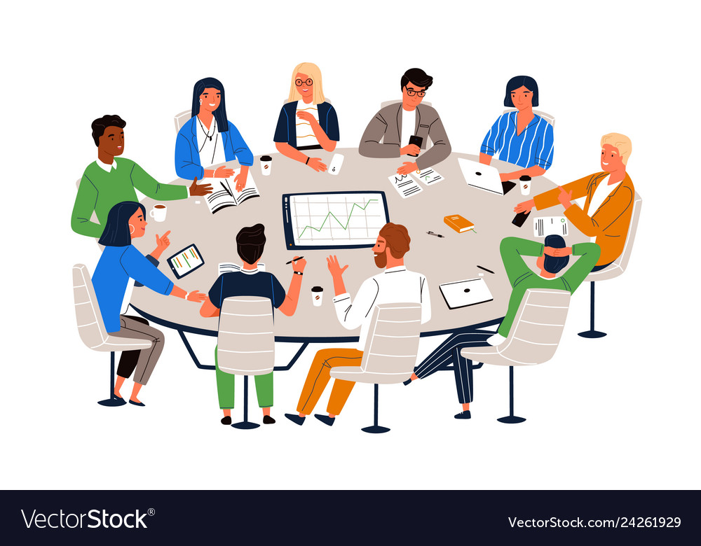 Cartoon People Sitting Around A Table Vector Images 26