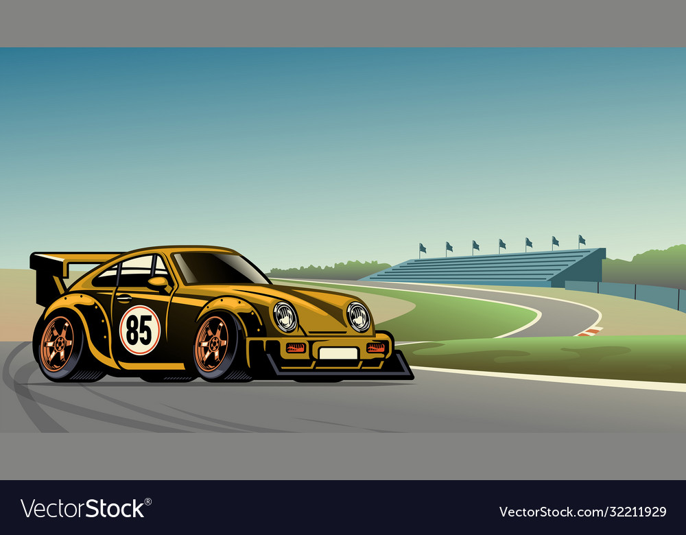 Old vintage racing car at circuit