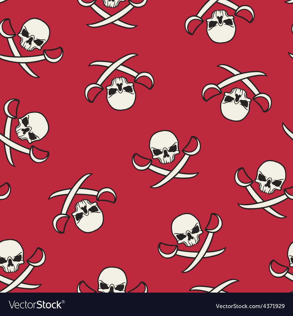 Seamless texture with skulls and pirate swords vector image