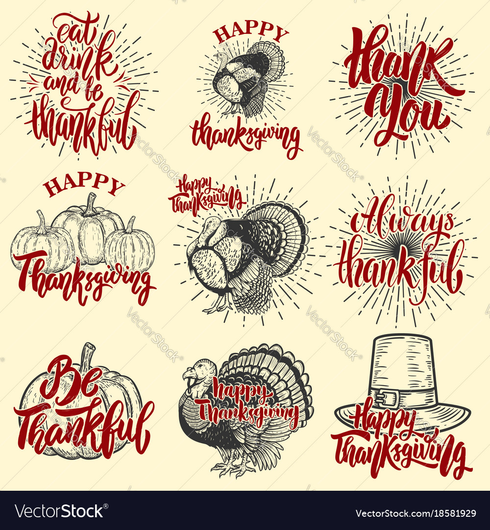 Set of happy thanksgiving badges turkey pumpkin