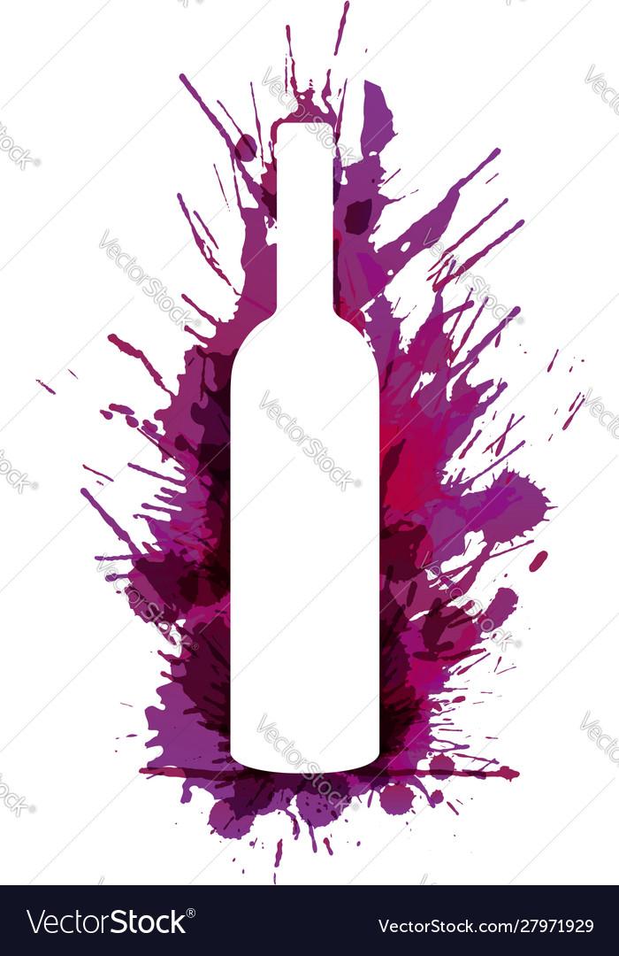 Wine bottle in front colorful grunge splashes