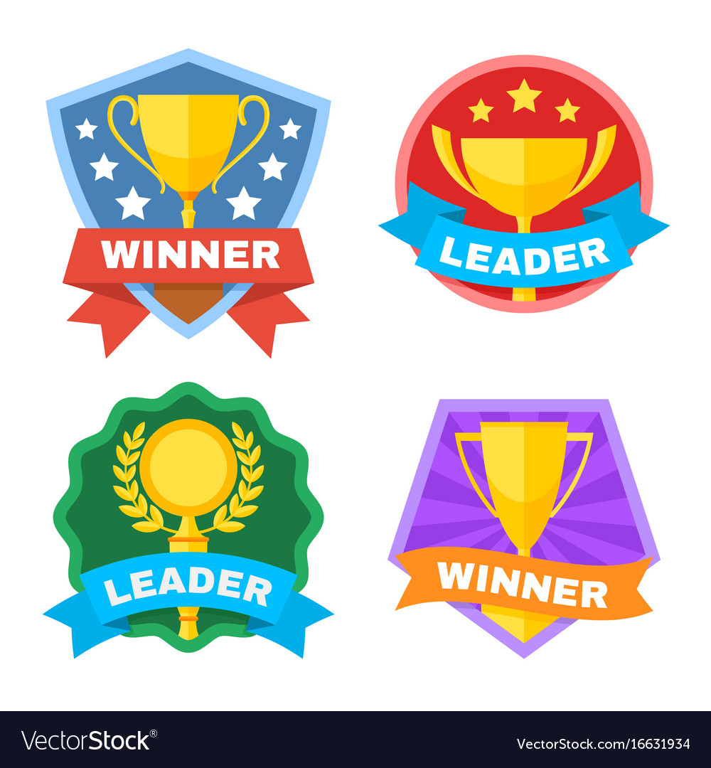 Achievement Logo achievement champ and contest logo set royalty free vector