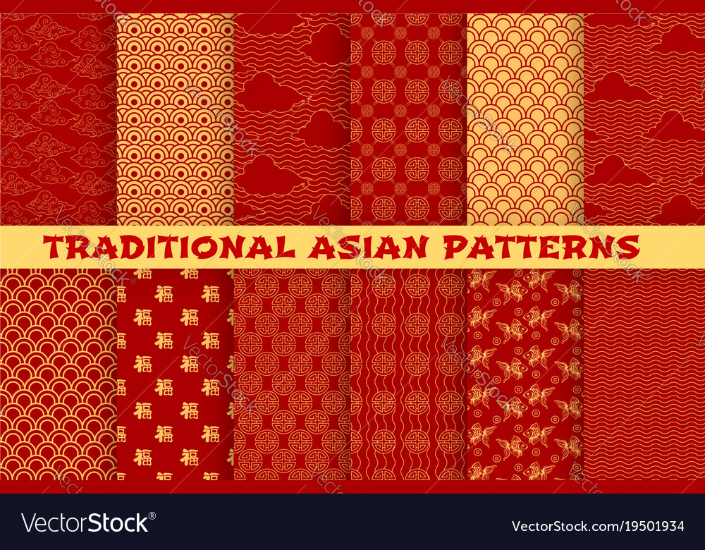 Asian Seamless Pattern Of Oriental Golden Ornament Awesome Asian Patterns