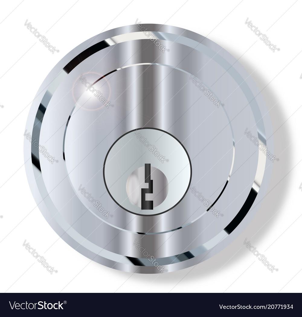 Chrome front door lock Royalty Free Vector Image