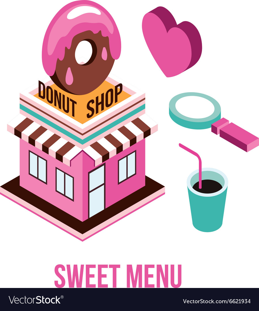 Donut shop Coffee love Food isometric infographic