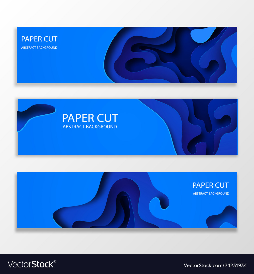 Horizontal banners with 3d abstract blue