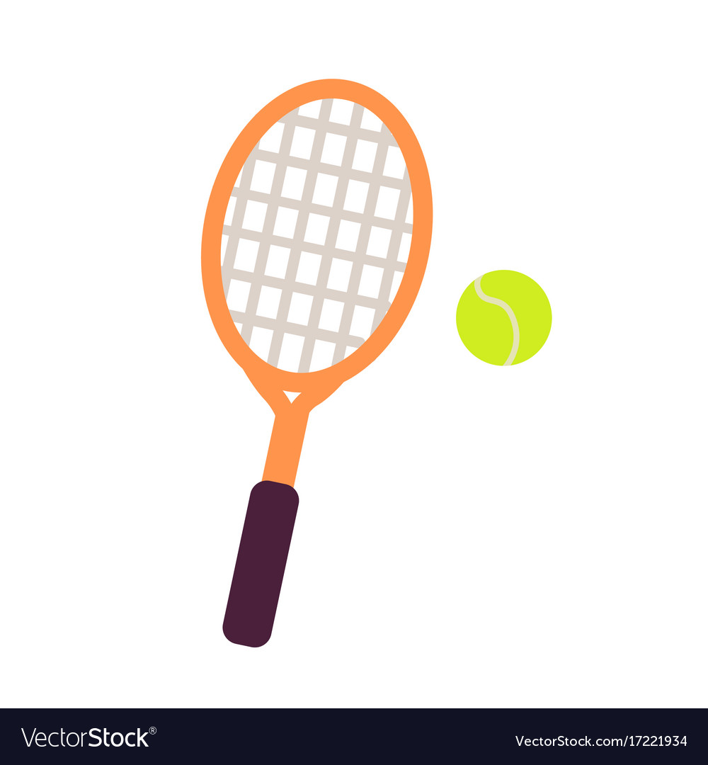 Racket and tennis ball close-up graphic art icon