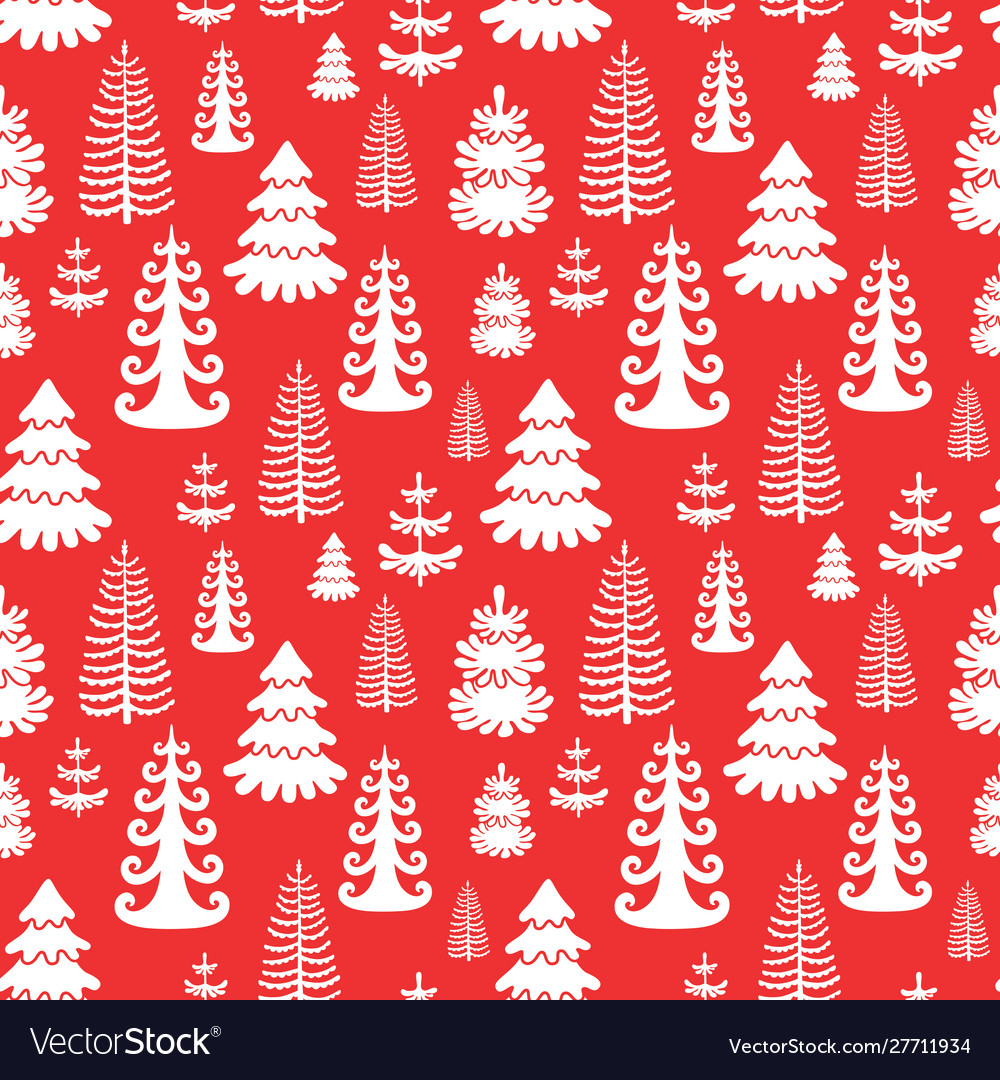 Red seamless pattern with christmas trees eps10