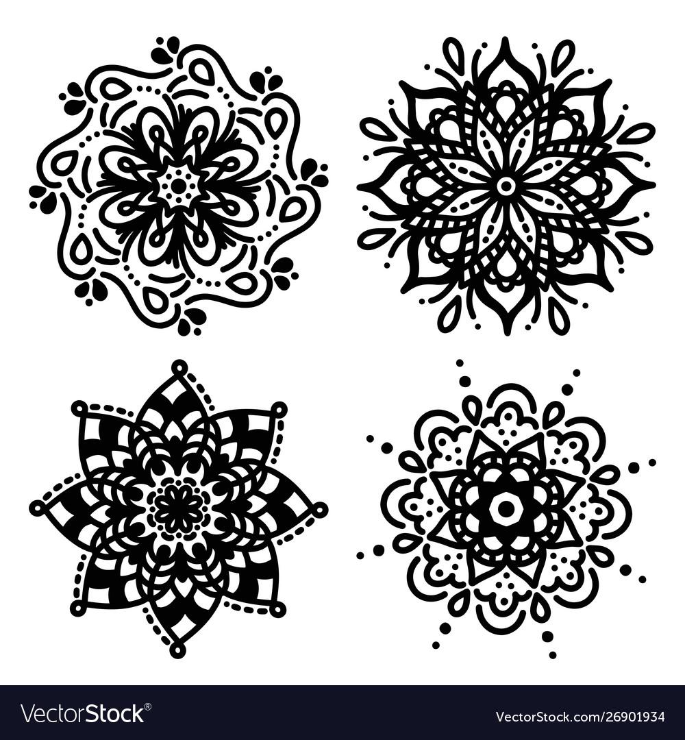 Set simple mandalas for coloring floral concept