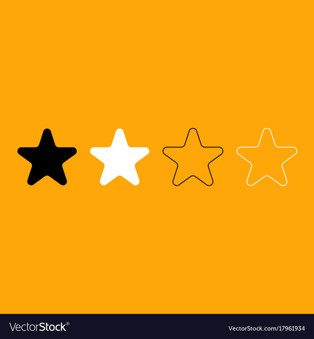 Star black and white set icon vector image