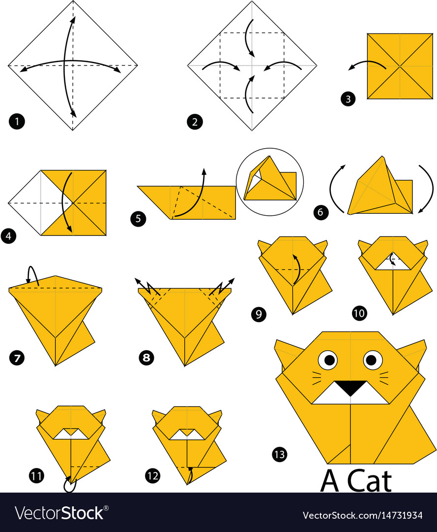 How to Make an Origami Cat Face Step by Step Instructions | Free ... | 1080x889