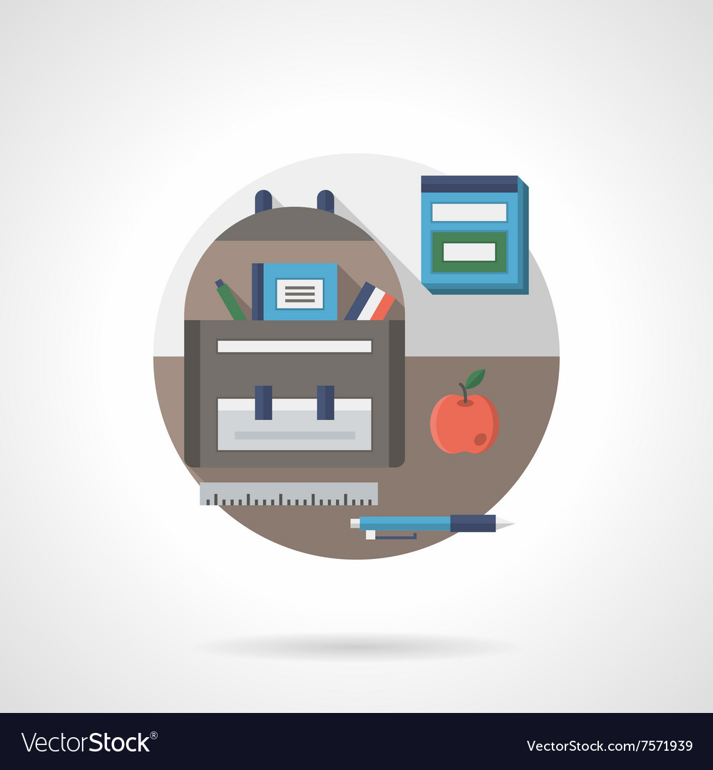 Back to school detail flat color icon vector image