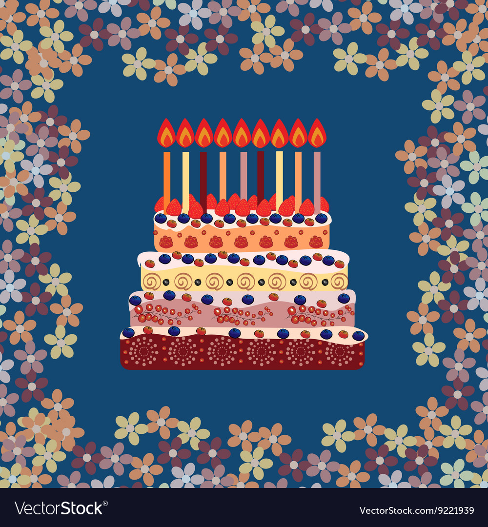 Birthday Cake With Nine Candles Years Vector Image