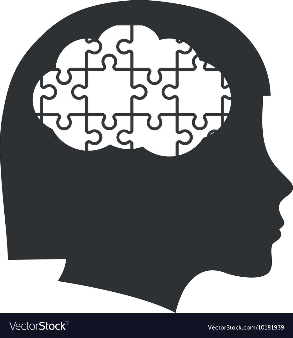 Brain puzzle head silhouette idea icon