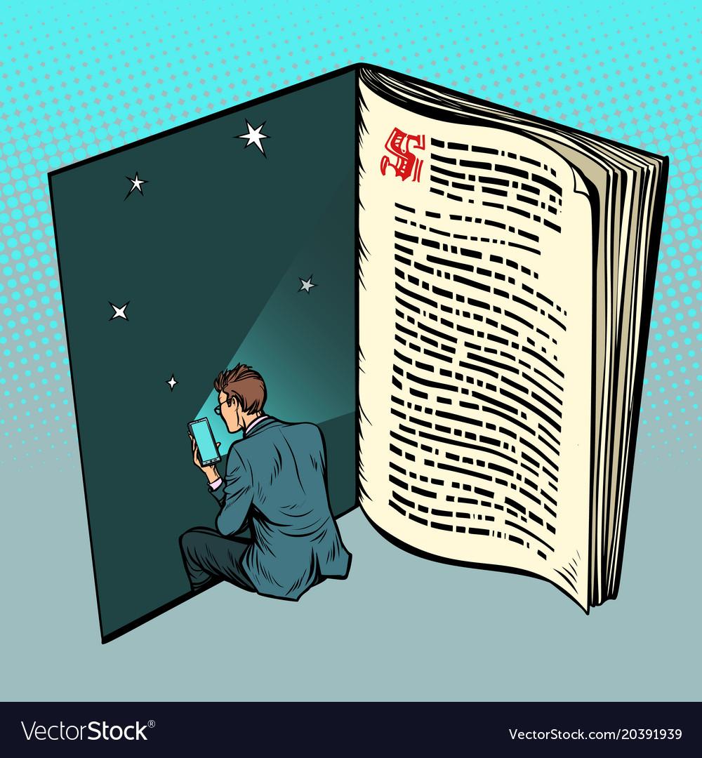 E-book a man reads online text