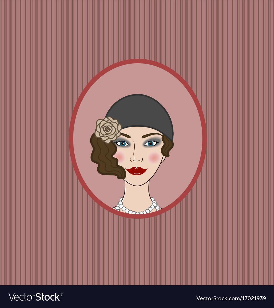 Flapper girl 20s-30s style portrait vignette