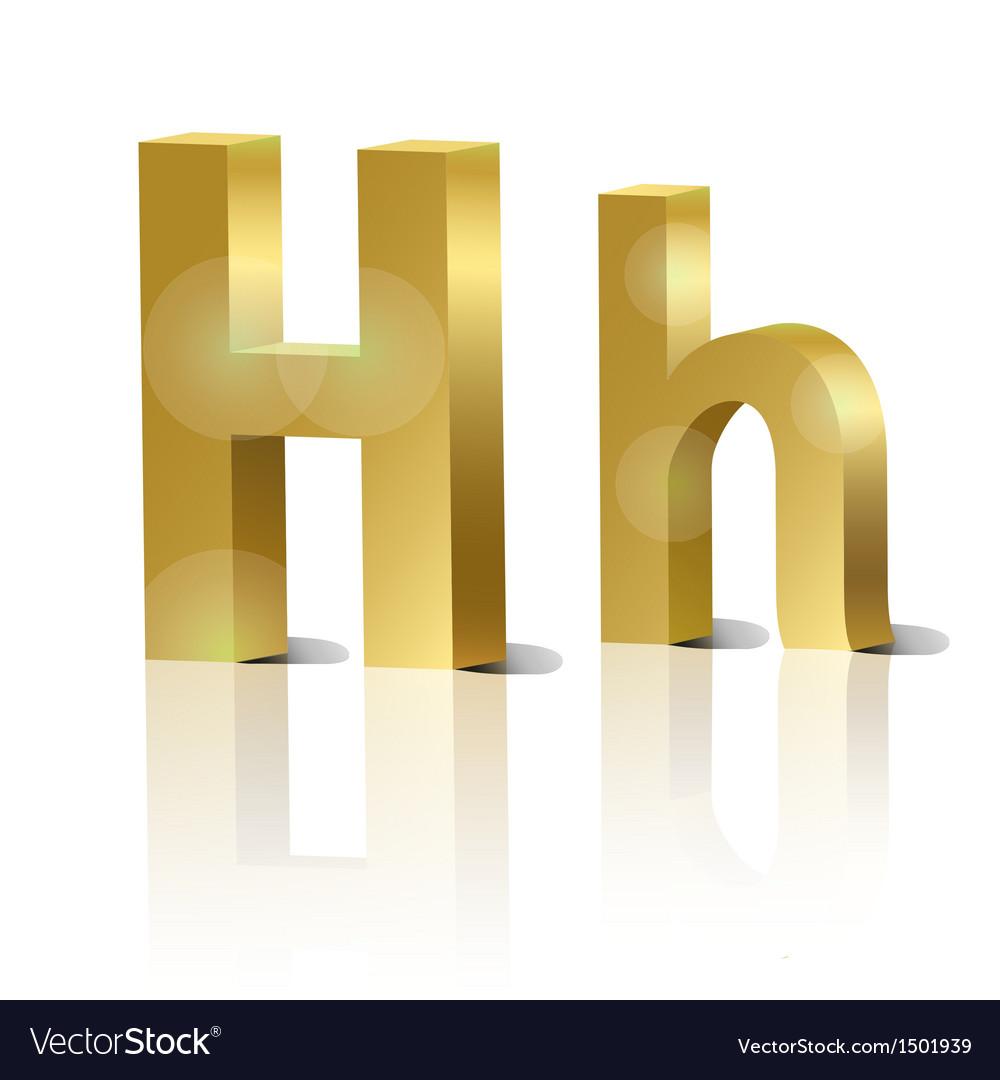 Golden letter H vector image