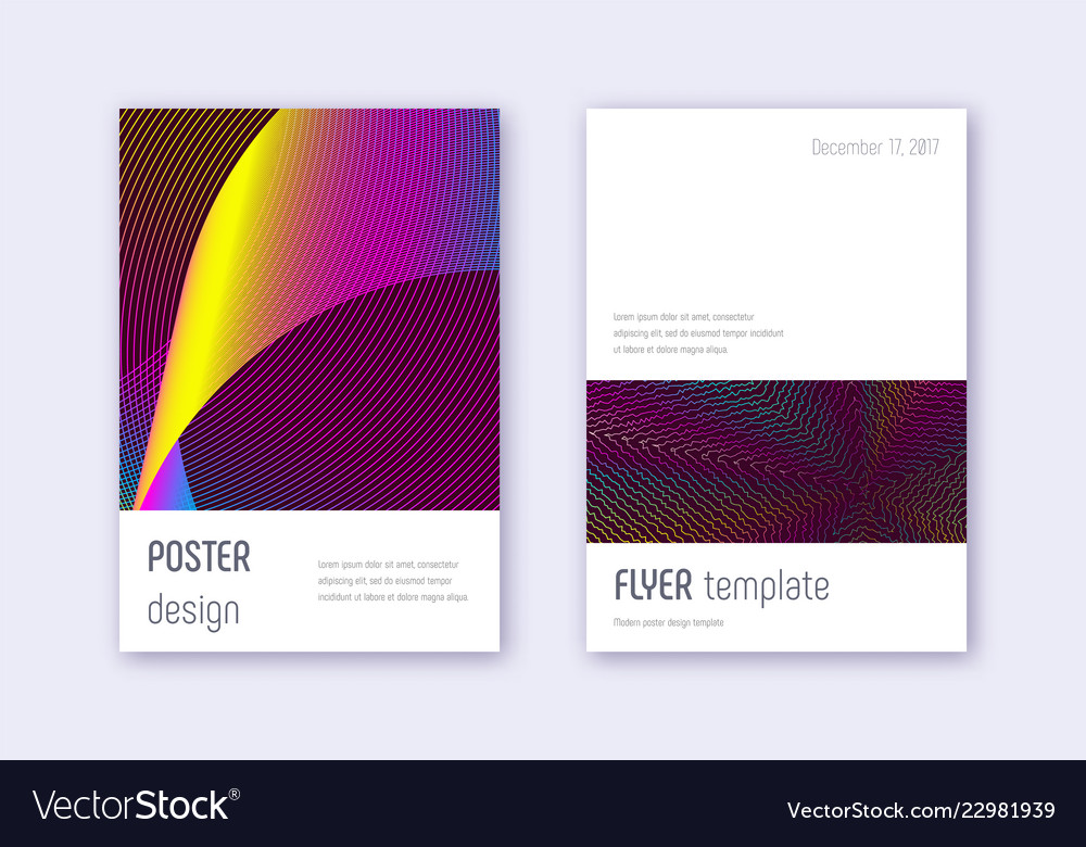 minimalistic cover design template set rainbow ab vector image