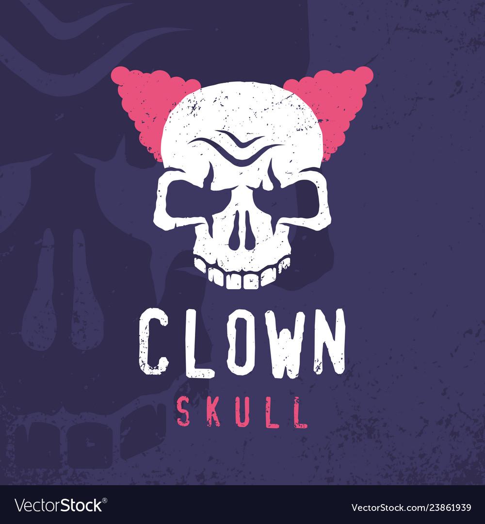 Modern professional emblem clown skull in purple