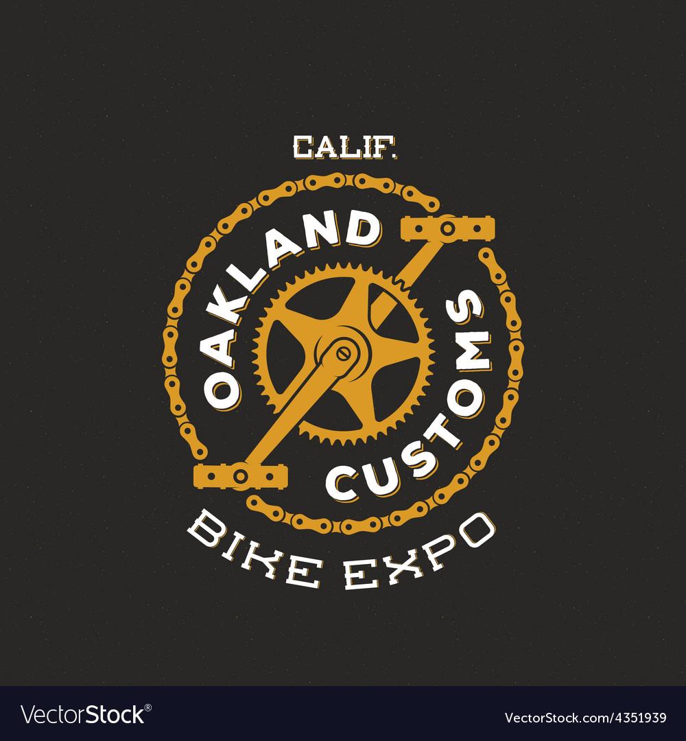 Retro Bike Custom Show Expo Label or Logo vector image
