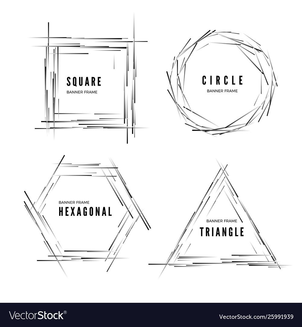 Set abstract modern geometric shape banners