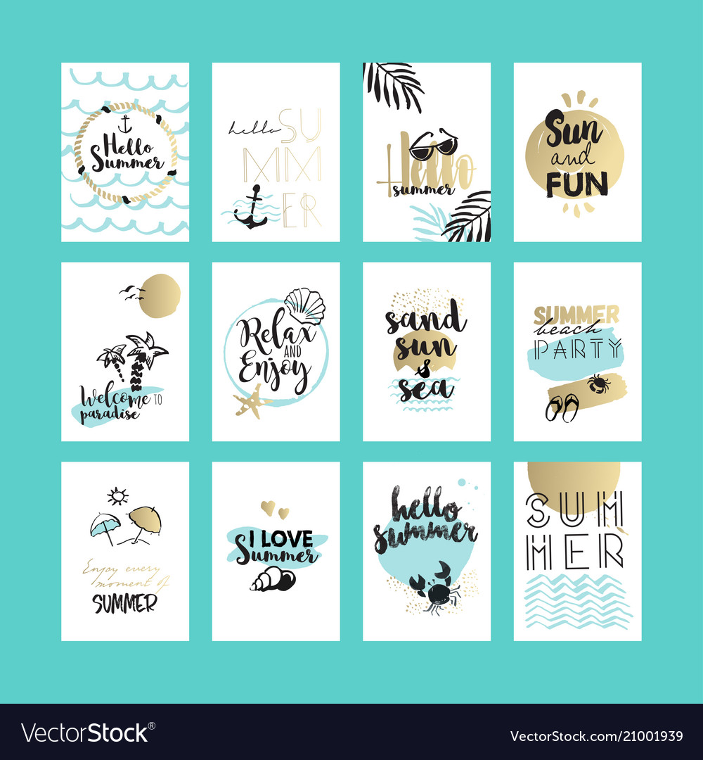 Set hand drawn summer cards and banners