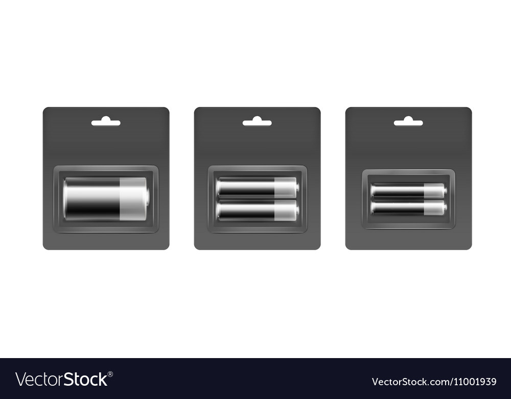 Set of Black Silver Alkaline AA AAA C Batteries
