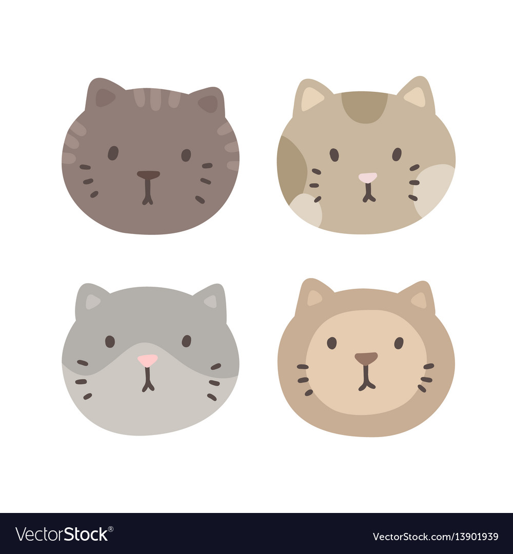 Set of four cats faces