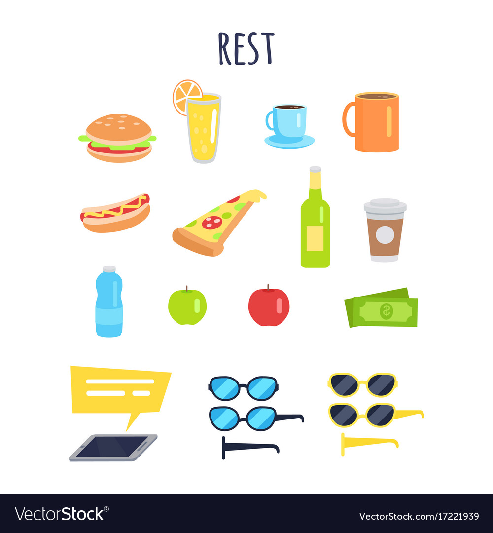 Set of rest for men accessories and food graphic