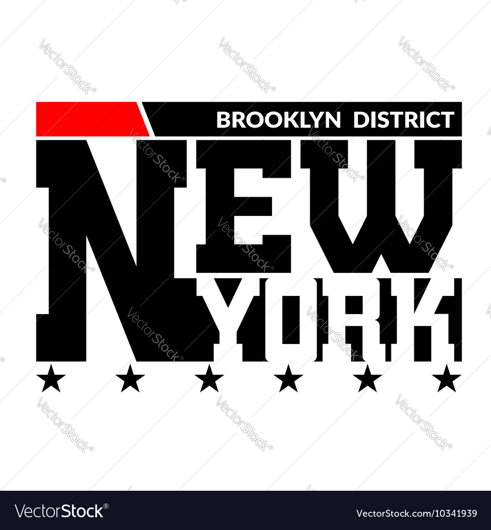 T shirt typography star New York red vector image