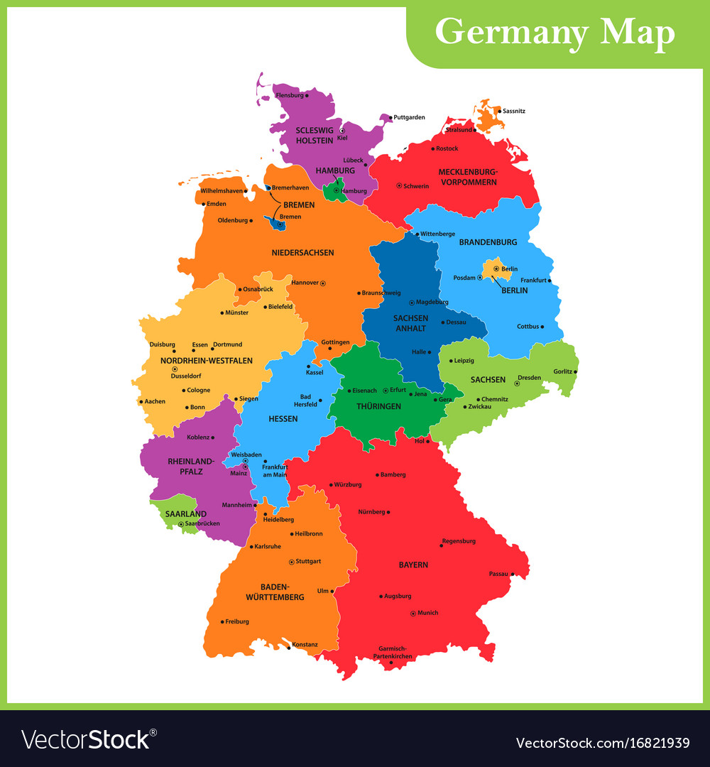 Regions Of Germany Map.The Detailed Map Of The Germany With Regions Or Vector Image