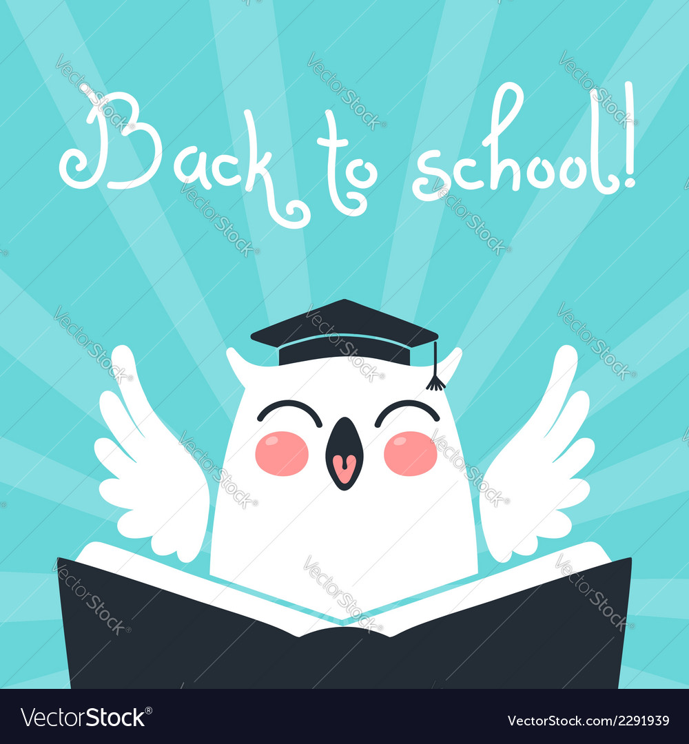 Amazing Welcome Back To School Card With An Owl Royalty Free Vector Funny Birthday Cards Online Fluifree Goldxyz