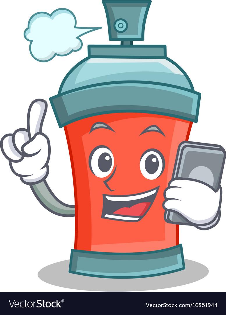 Aerosol spray can character cartoon with phone
