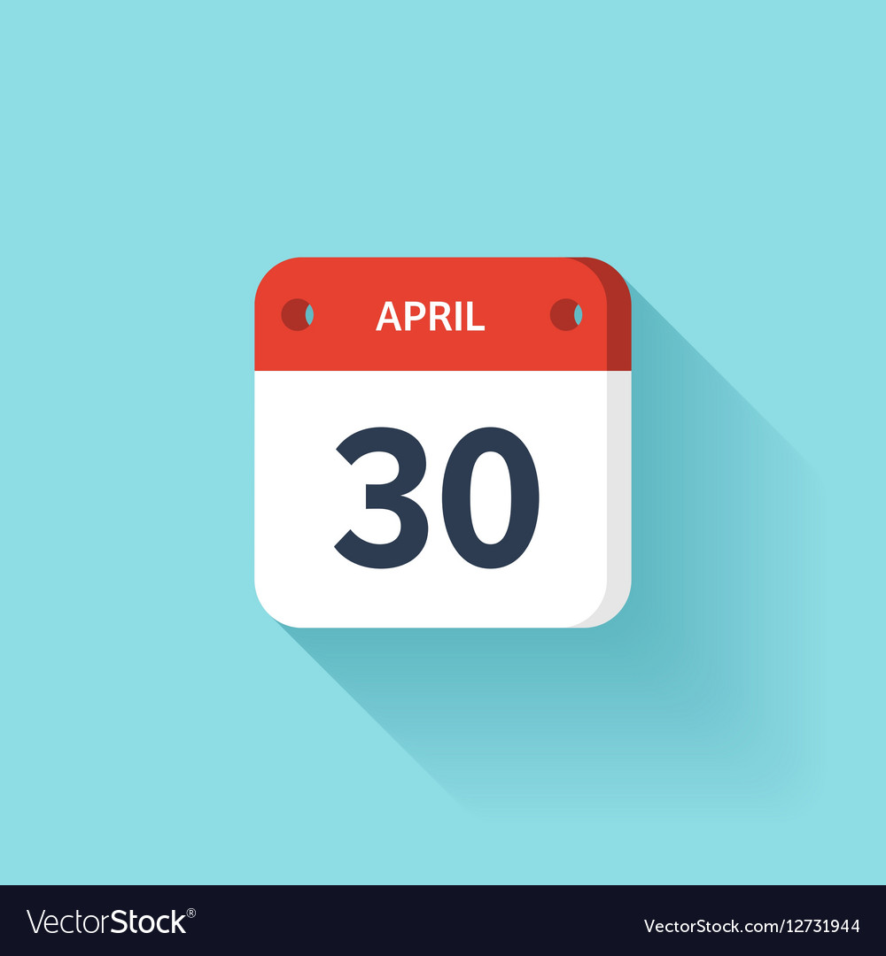 April 30 Isometric Calendar Icon With Shadow vector image