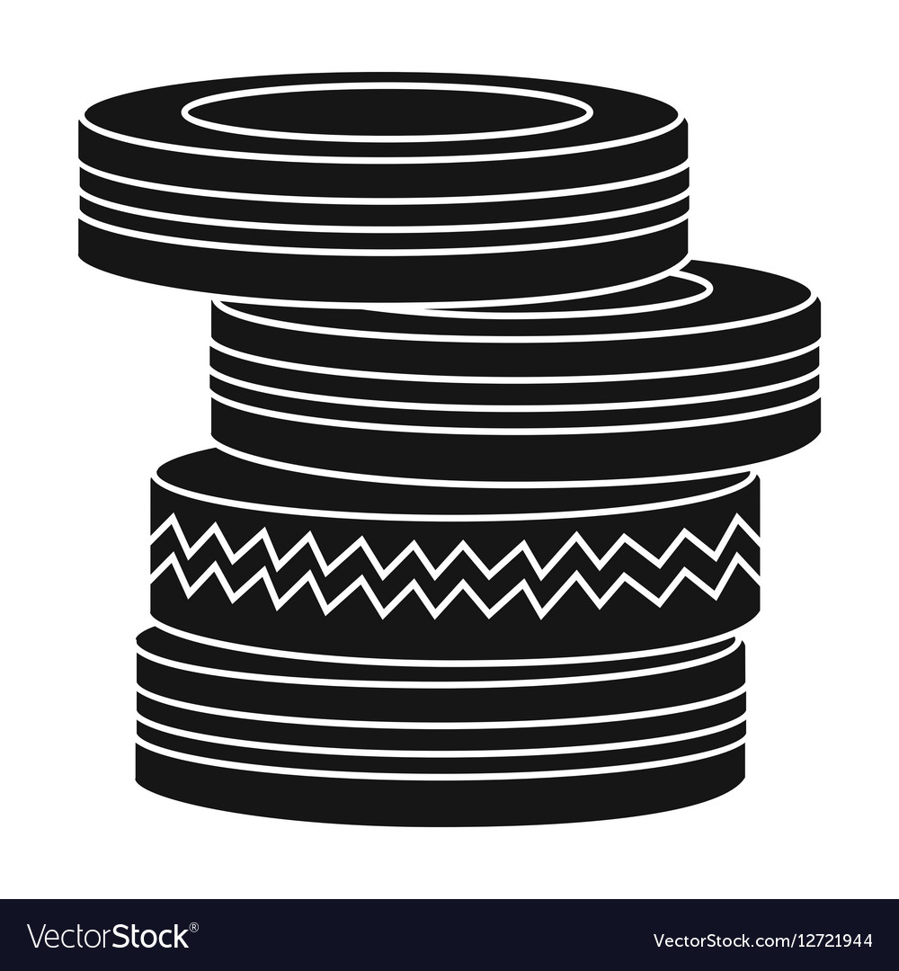 Barricade from tires icon in black style isolated