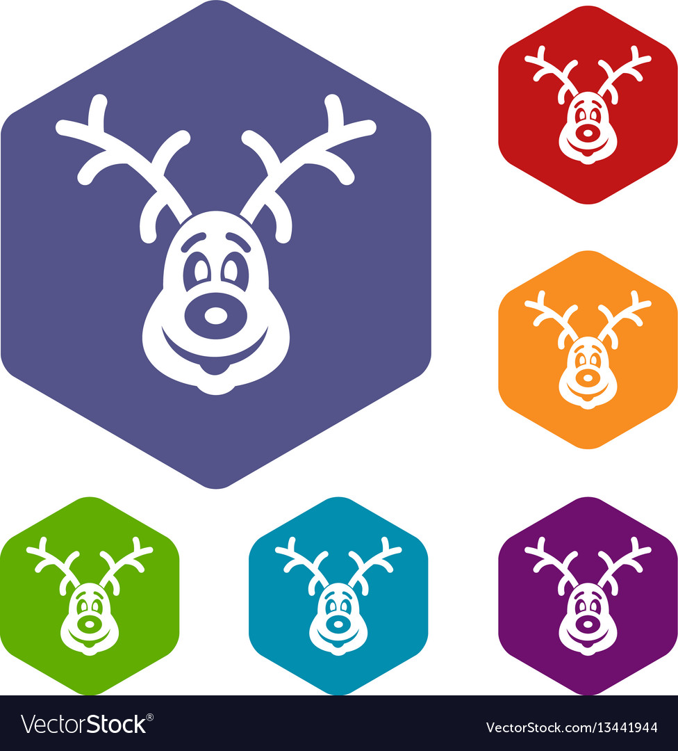 Christmas deer icons set