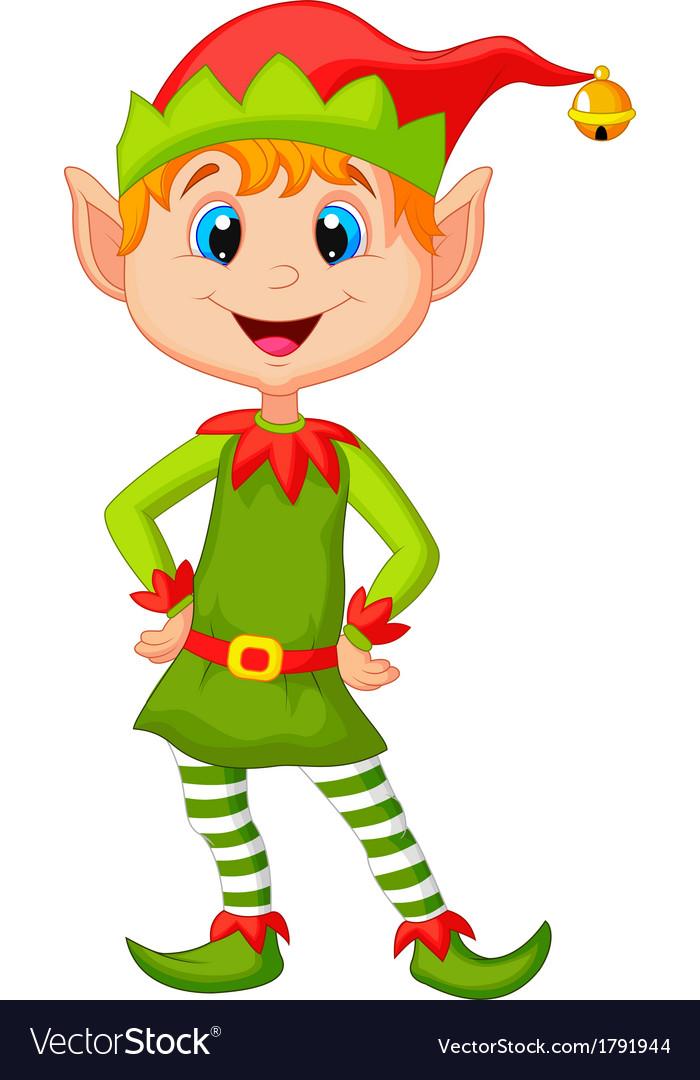 Cute and happy looking christmas elf cartoon vector image